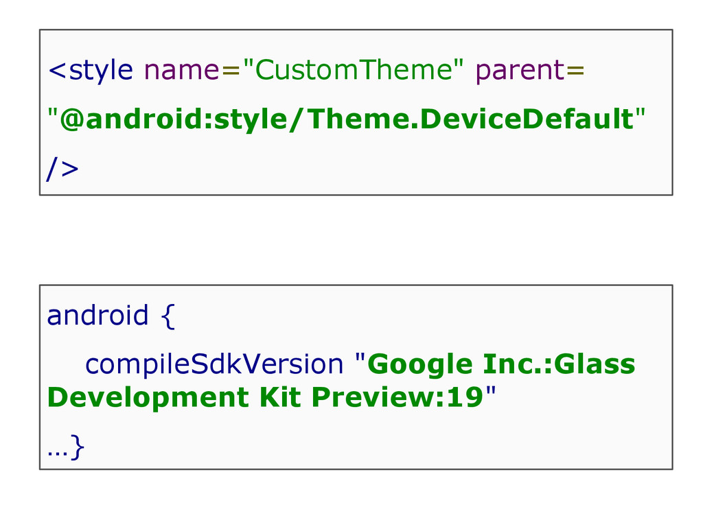 """<style name=""""CustomTheme"""" parent= """"@android:sty..."""