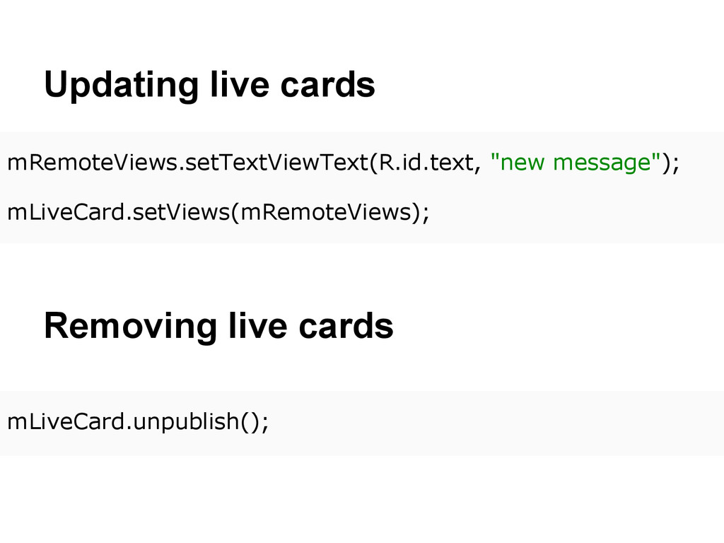 Updating live cards mRemoteViews.setTextViewTex...