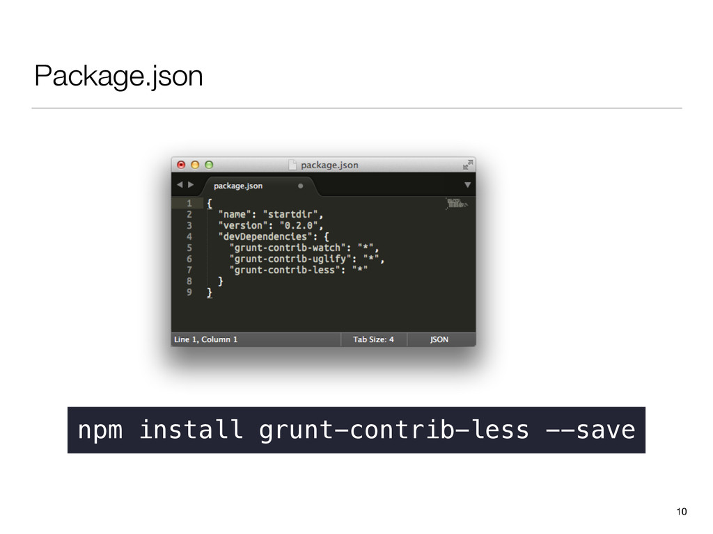Package.json 10 npm install grunt-contrib-less ...