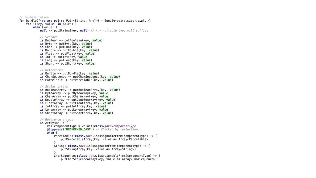 // Implementation fun bundleOf(vararg pairs: Pa...