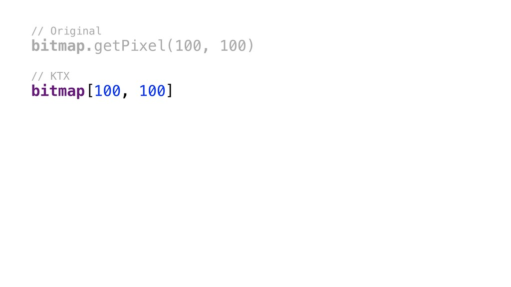 // Original bitmap.getPixel(100, 100) // KTX bi...