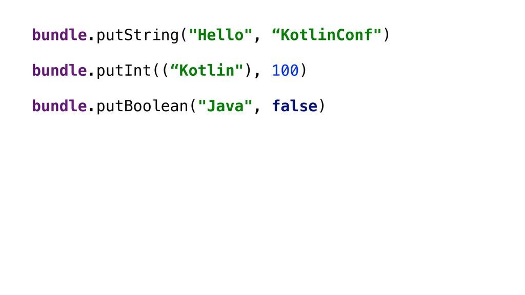 "bundle.putString(""Hello"", ""KotlinConf"") bundle...."