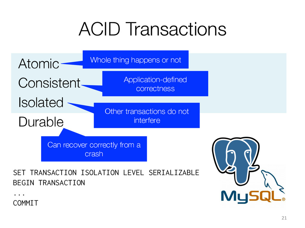 ACID Transactions Atomic Consistent Isolated...
