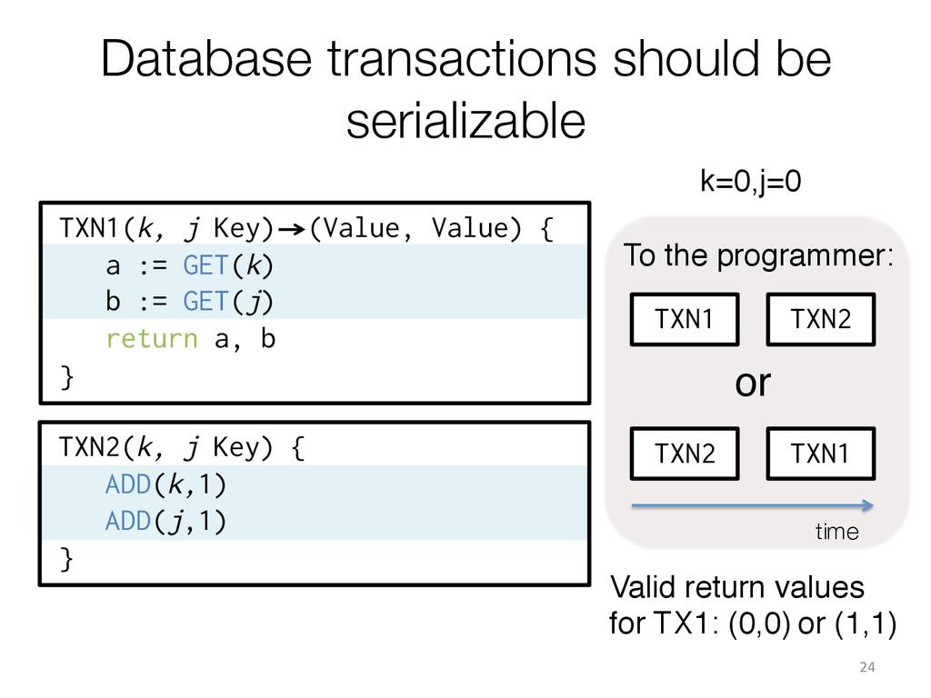 TXN1(k, j Key) (Value, Value) { a := GET(k) b :...