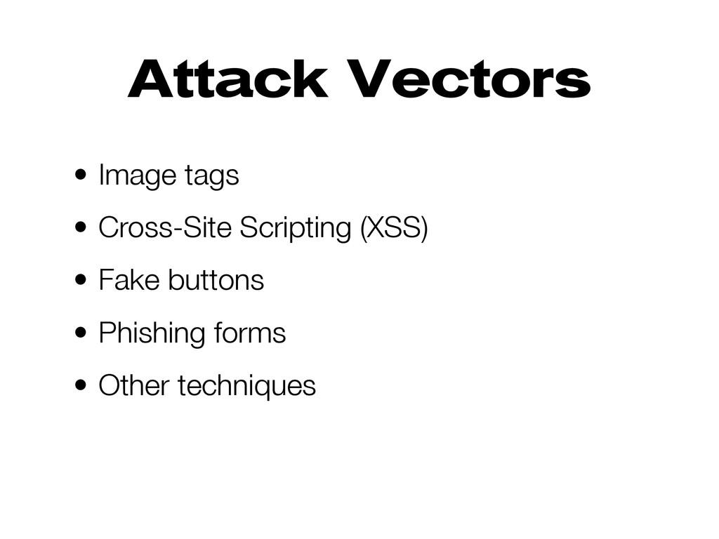 Attack Vectors • Image tags • Cross-Site Script...
