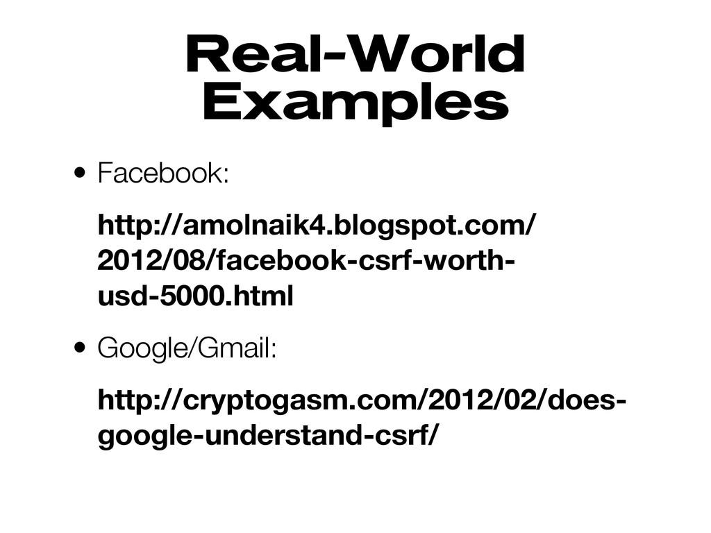 Real-World Examples • Facebook: http://amolnaik...
