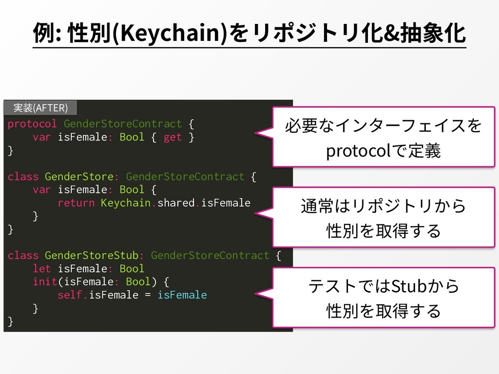 例: 性別(Keychain)をリポジトリ化&抽象化 protocol GenderStore...