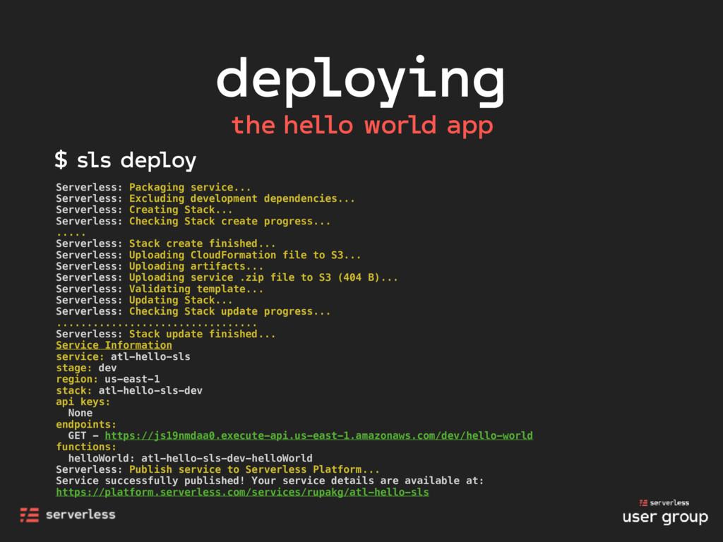 deploying the hello world app Serverless: Packa...