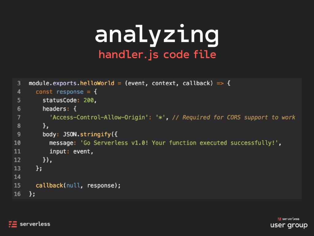 analyzing handler.js code file