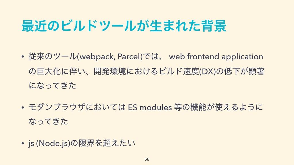 ࠷ۙͷϏϧυπʔϧ͕ੜ·Εͨഎܠ • ैདྷͷπʔϧ(webpack, Parcel)Ͱɺ w...