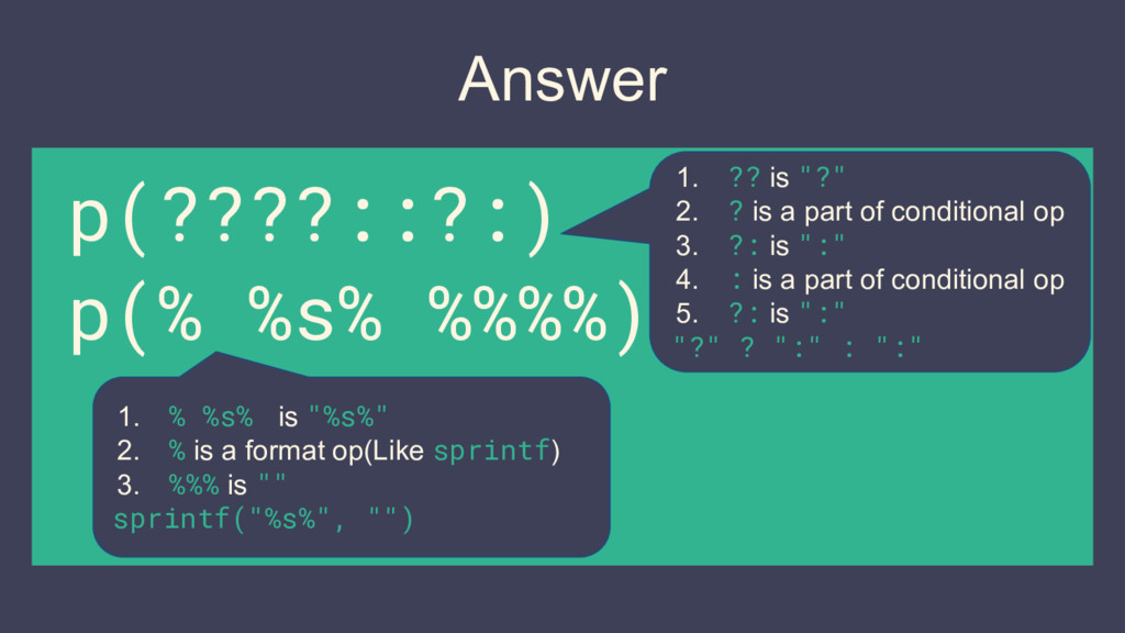 """Answer p(????::?:) p(% %s% %%%%) 1. ?? is """"?"""" 2..."""