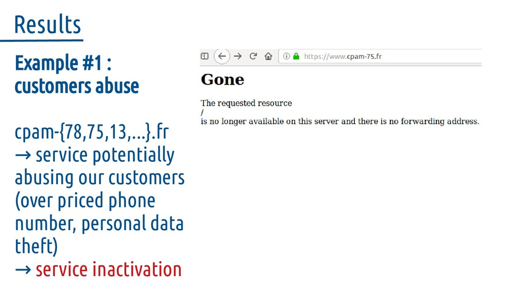 Example #1 : customers abuse cpam-{78,75,13,......