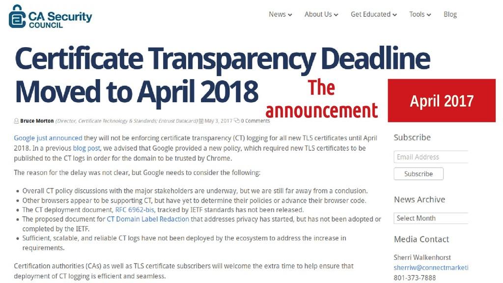 April 2017 The announcement