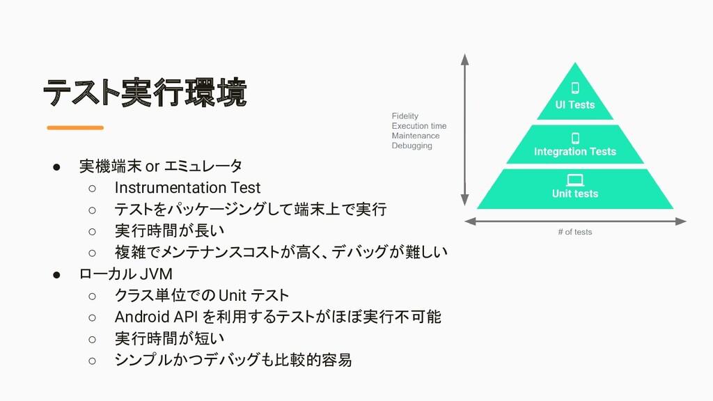 テスト実行環境 ● 実機端末 or エミュレータ ○ Instrumentation Test...