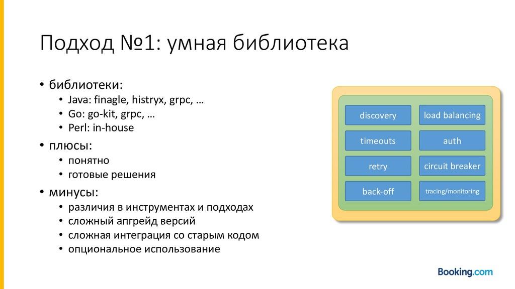 Подход №1: умная библиотека • библиотеки: • Jav...