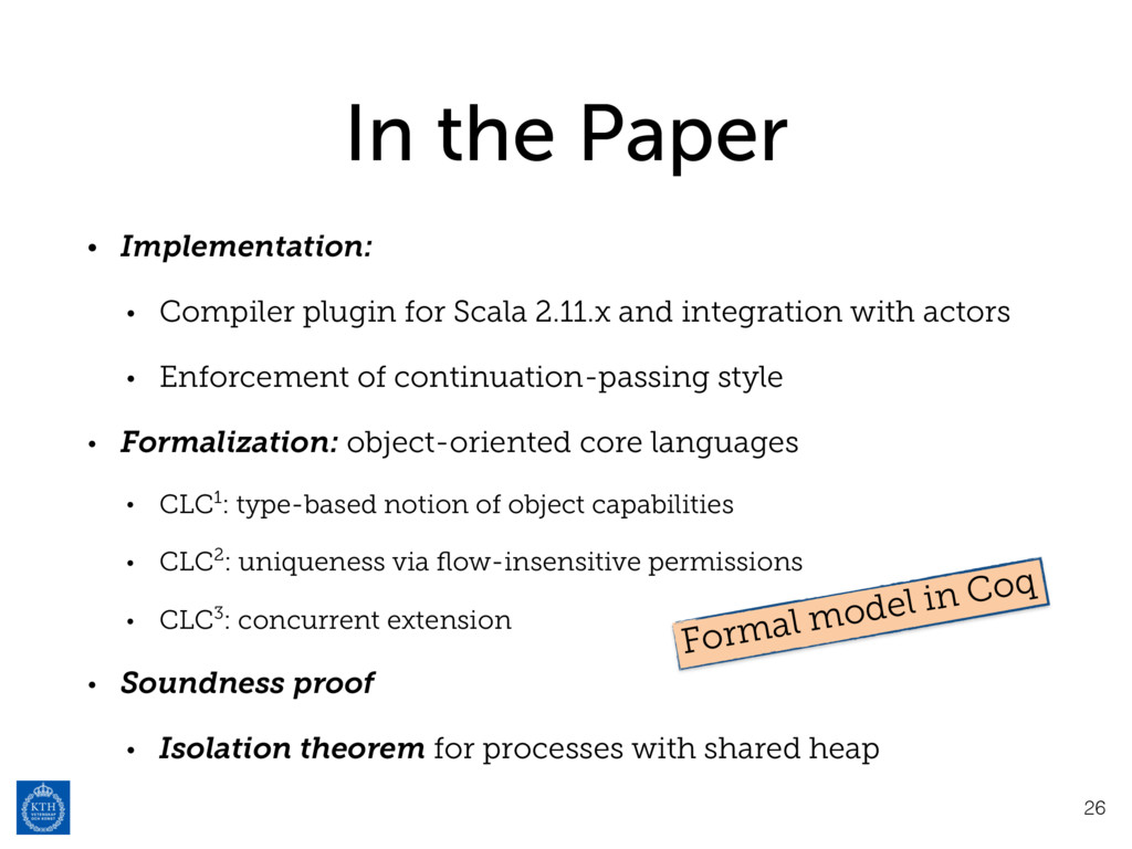 In the Paper • Implementation: • Compiler plugi...
