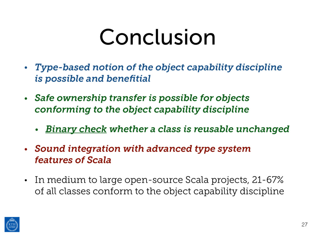 Conclusion • Type-based notion of the object ca...