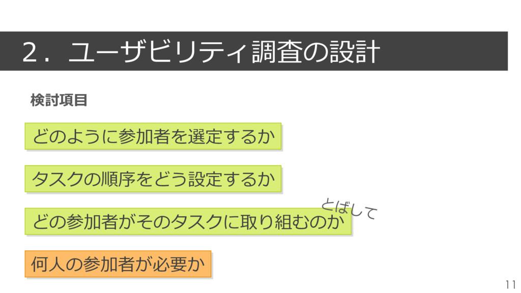 2.ユーザビリティ調査の設計 11 どのように参加者を選定するか タスクの順序をどう設定するか...