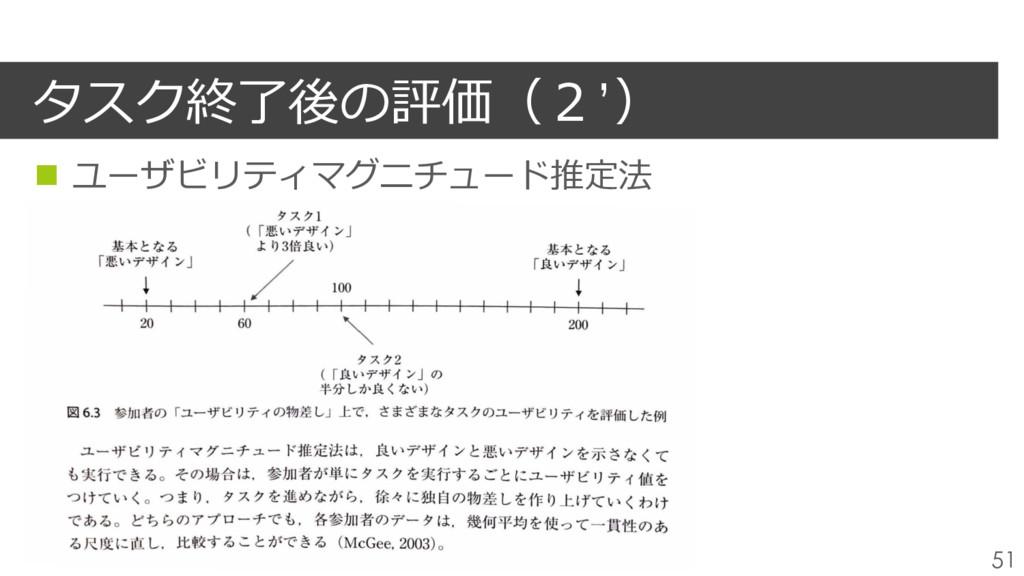 タスク終了後の評価(2') 51 n ユーザビリティマグニチュード推定法