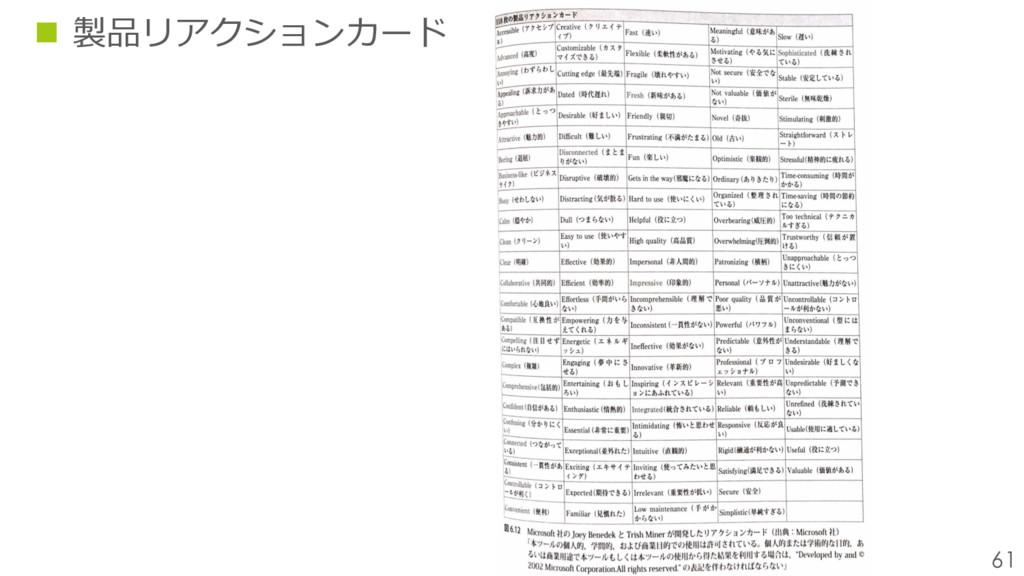 61 n 製品リアクションカード