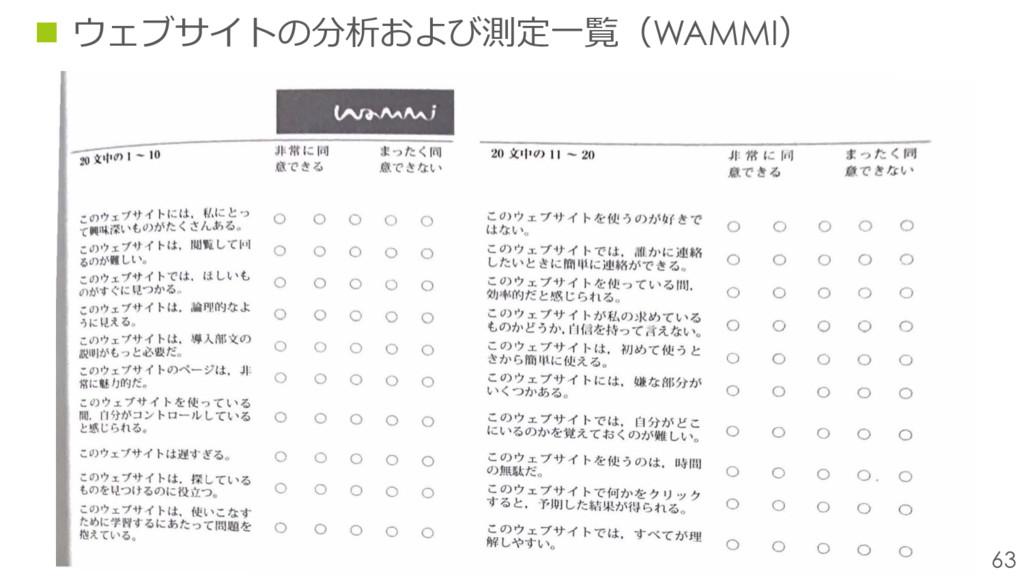 63 n ウェブサイトの分析および測定⼀覧(WAMMI)