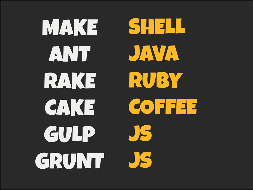 MAKE ANT RAKE CAKE GULP GRUNT SHELL JAVA RU...