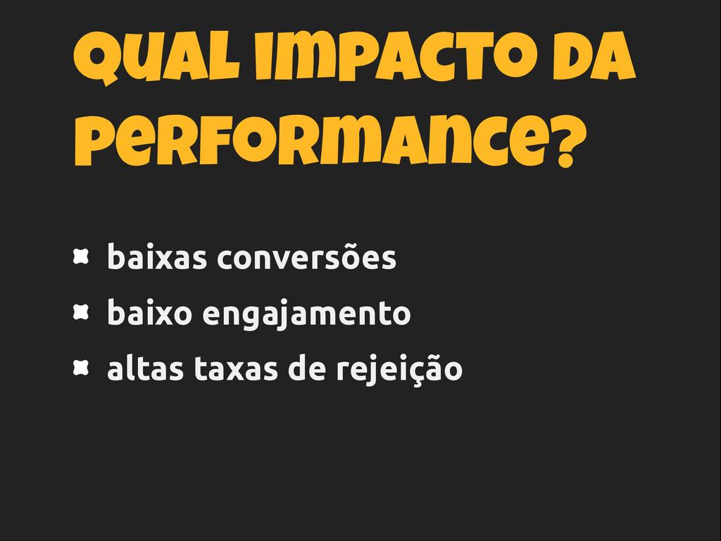 Qual impacto da performance? baixas conversões ...