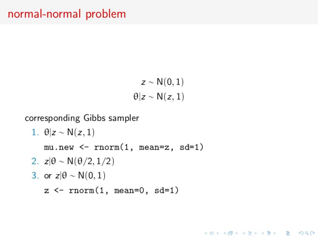normal-normal problem z ∼ N(0, 1) θ|z ∼ N(z, 1)...
