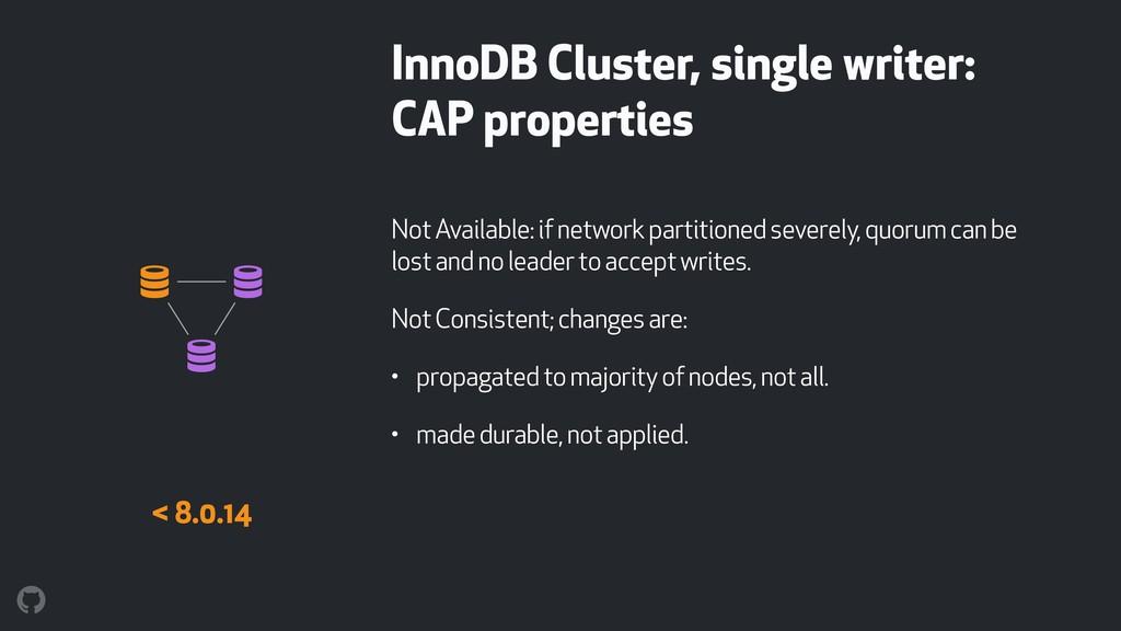 InnoDB Cluster, single writer: CAP properties N...