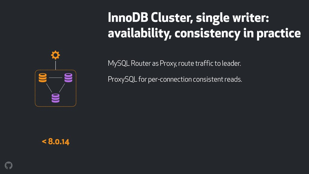 InnoDB Cluster, single writer: availability, co...