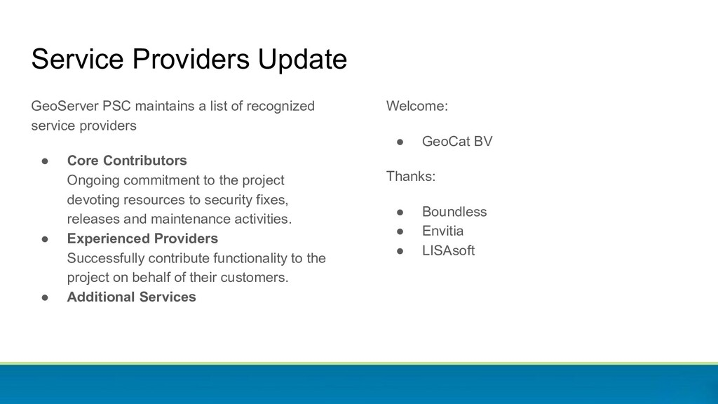 Service Providers Update GeoServer PSC maintain...