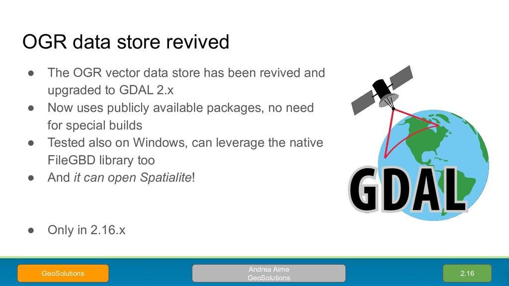 OGR data store revived ● The OGR vector data st...
