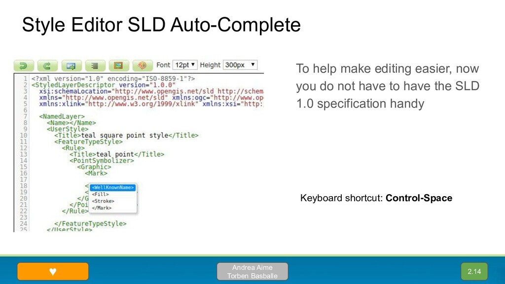 Style Editor SLD Auto-Complete Andrea Aime Torb...