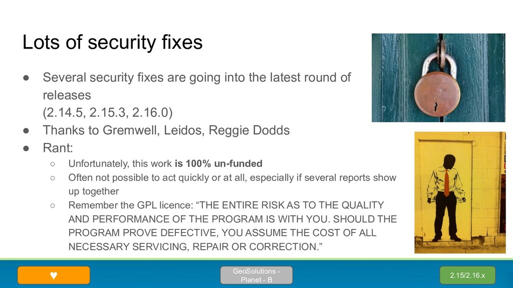 Lots of security fixes ● Several security fixes...