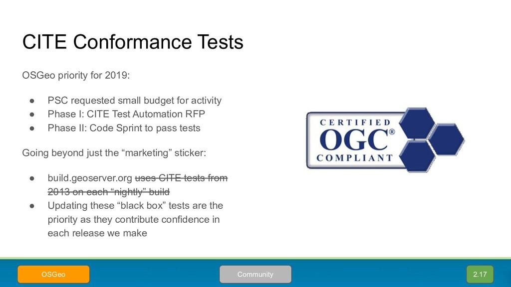 CITE Conformance Tests OSGeo priority for 2019:...