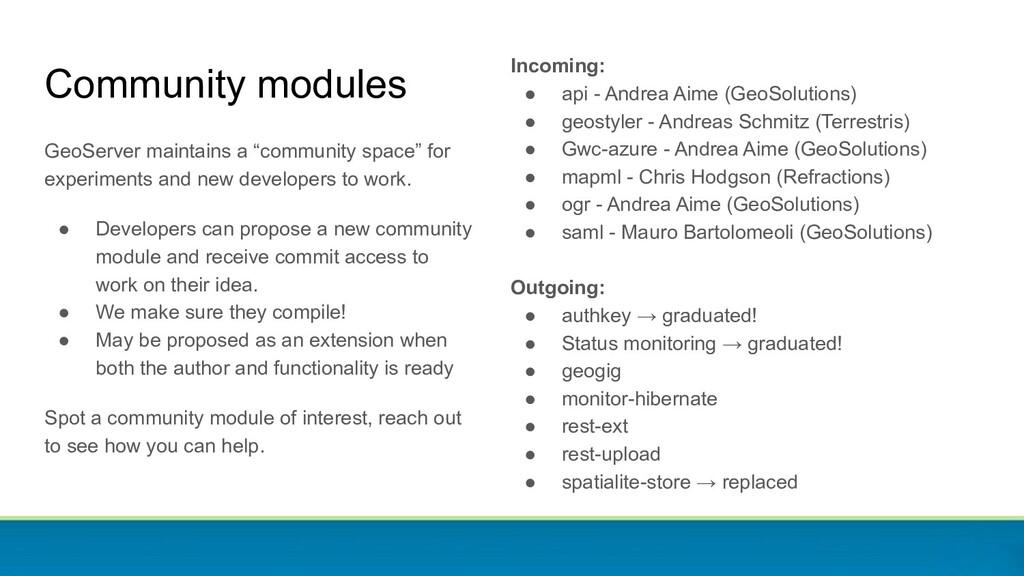 Community modules Incoming: ● api - Andrea Aime...