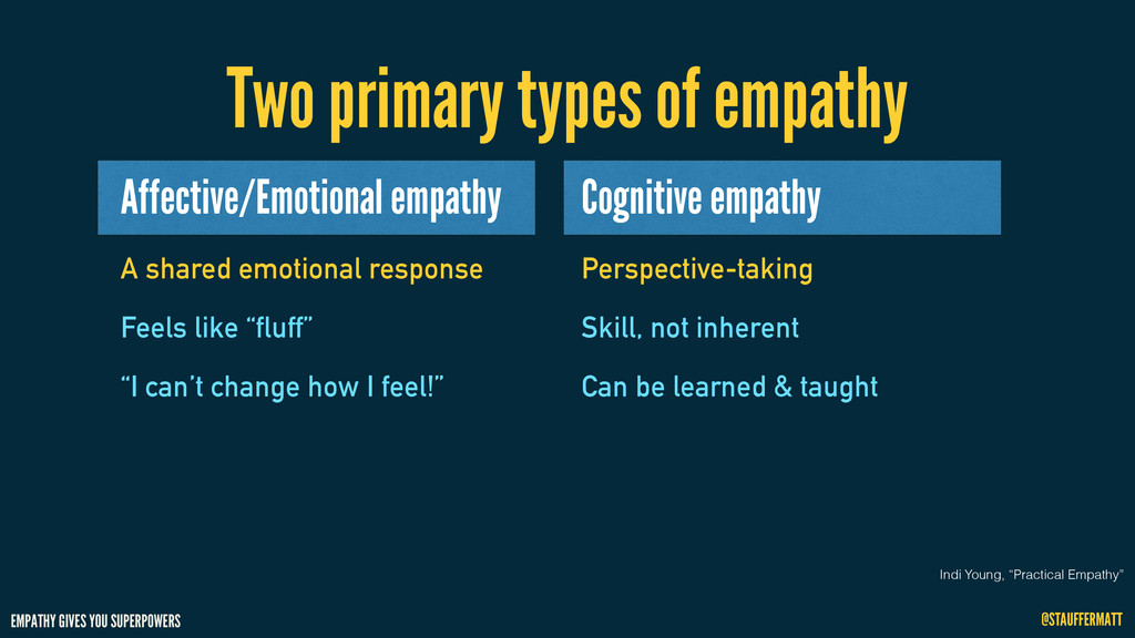 EMPATHY GIVES YOU SUPERPOWERS @STAUFFERMATT Two...