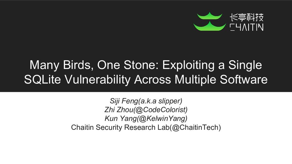 Many Birds, One Stone: Exploiting a Single SQLi...