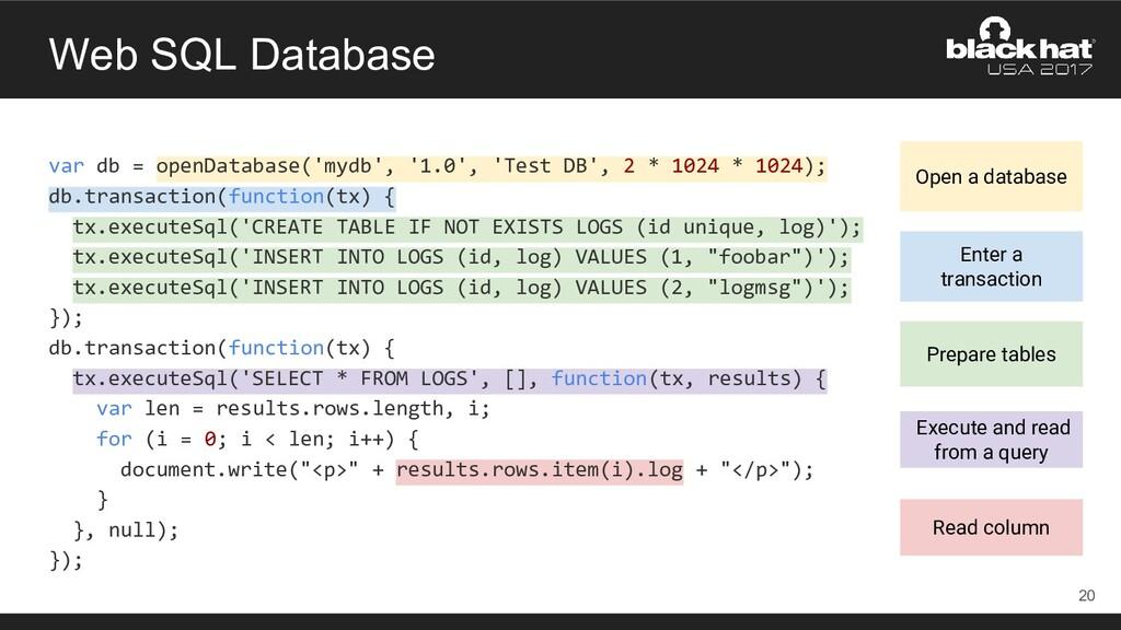 Web SQL Database var db = openDatabase('mydb', ...
