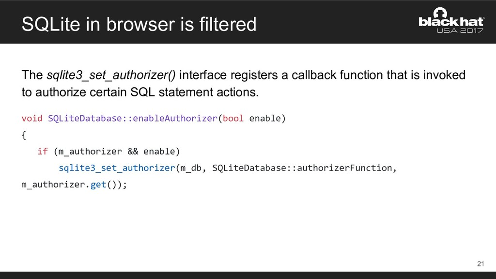 SQLite in browser is filtered The sqlite3_set_a...