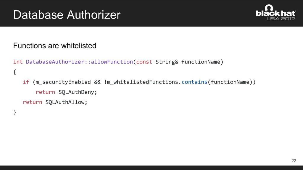 Database Authorizer Functions are whitelisted i...