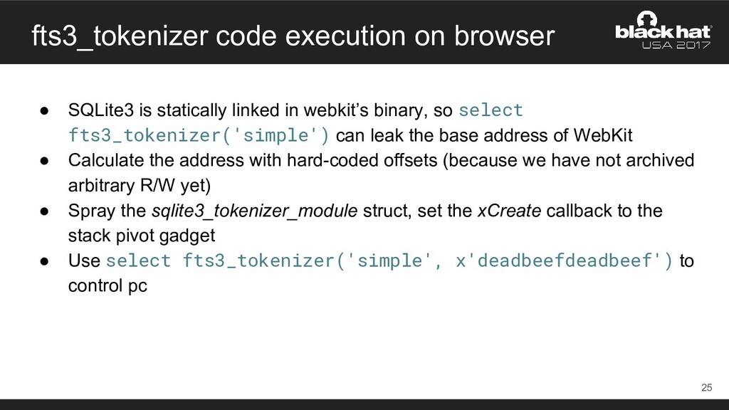 fts3_tokenizer code execution on browser ● SQLi...