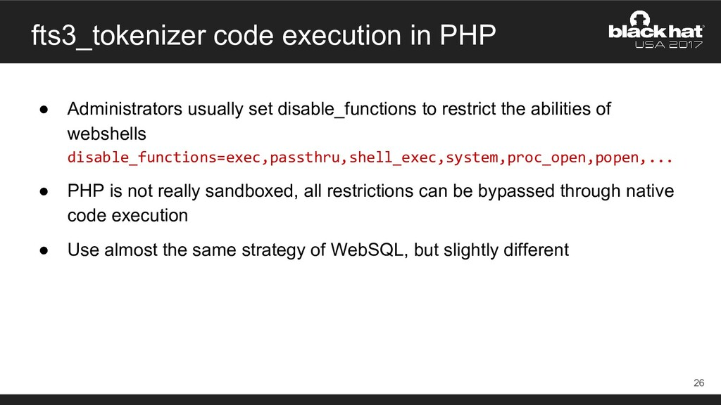 fts3_tokenizer code execution in PHP ● Administ...