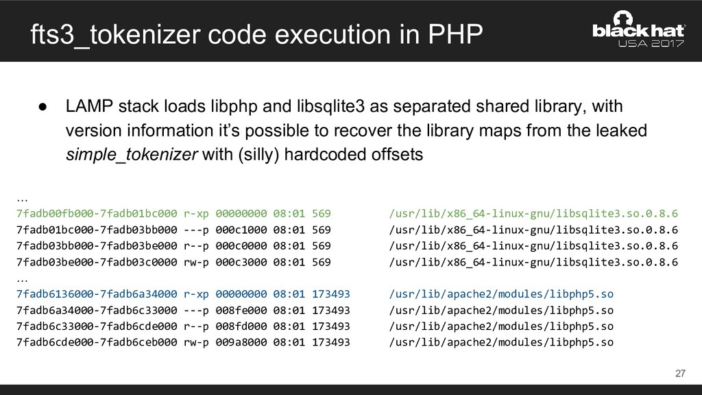 fts3_tokenizer code execution in PHP ● LAMP sta...