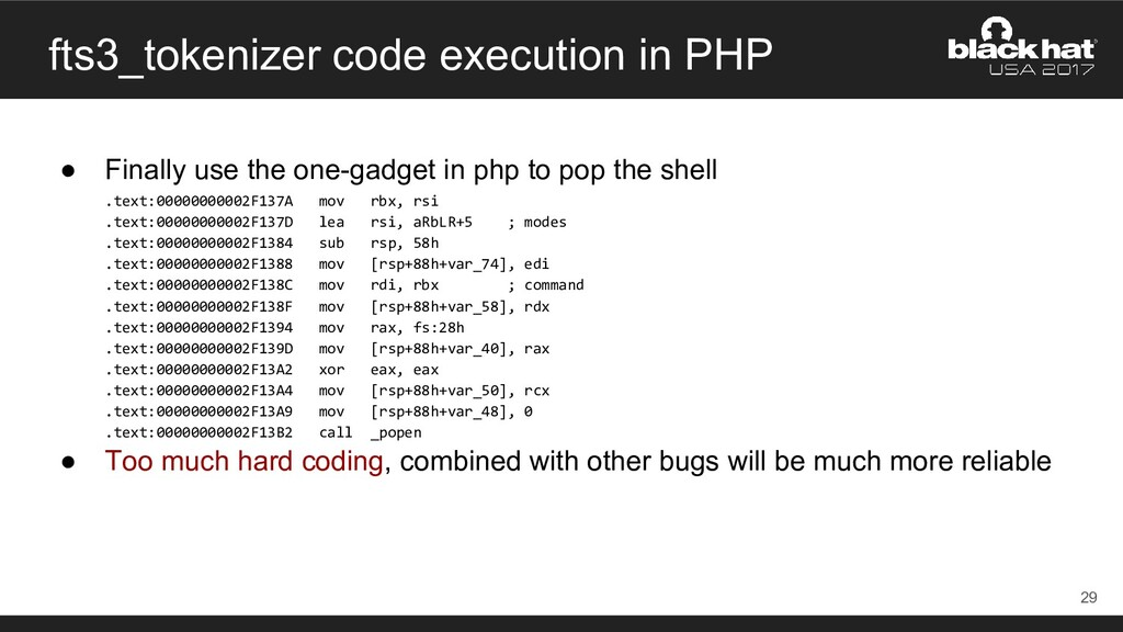 fts3_tokenizer code execution in PHP ● Finally ...