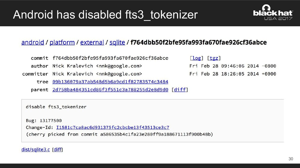 Android has disabled fts3_tokenizer 30