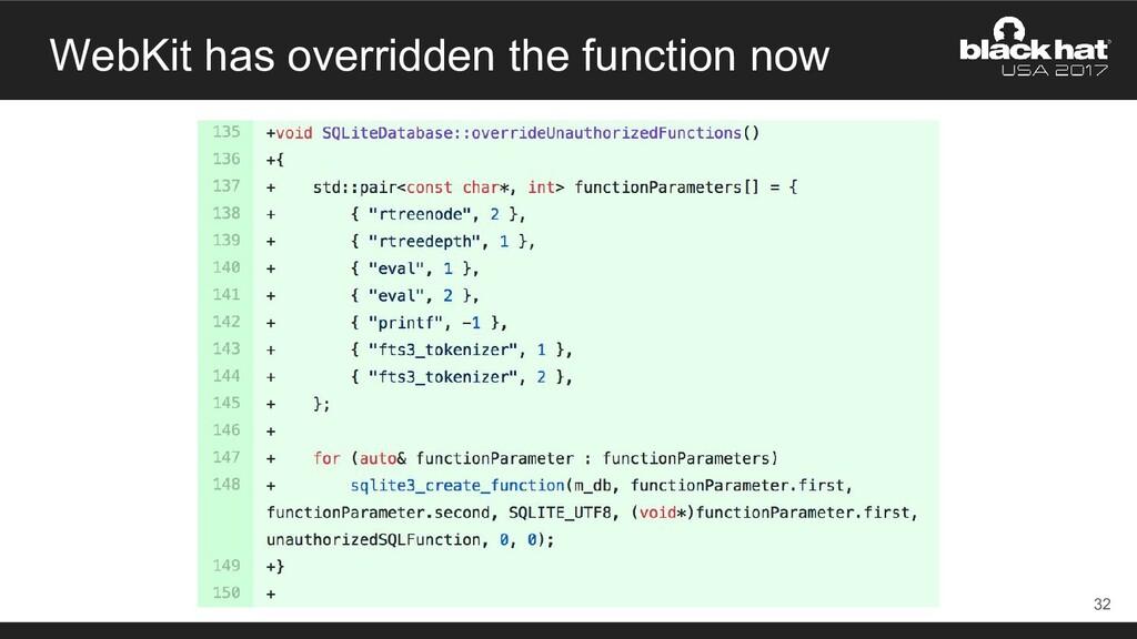 WebKit has overridden the function now 32