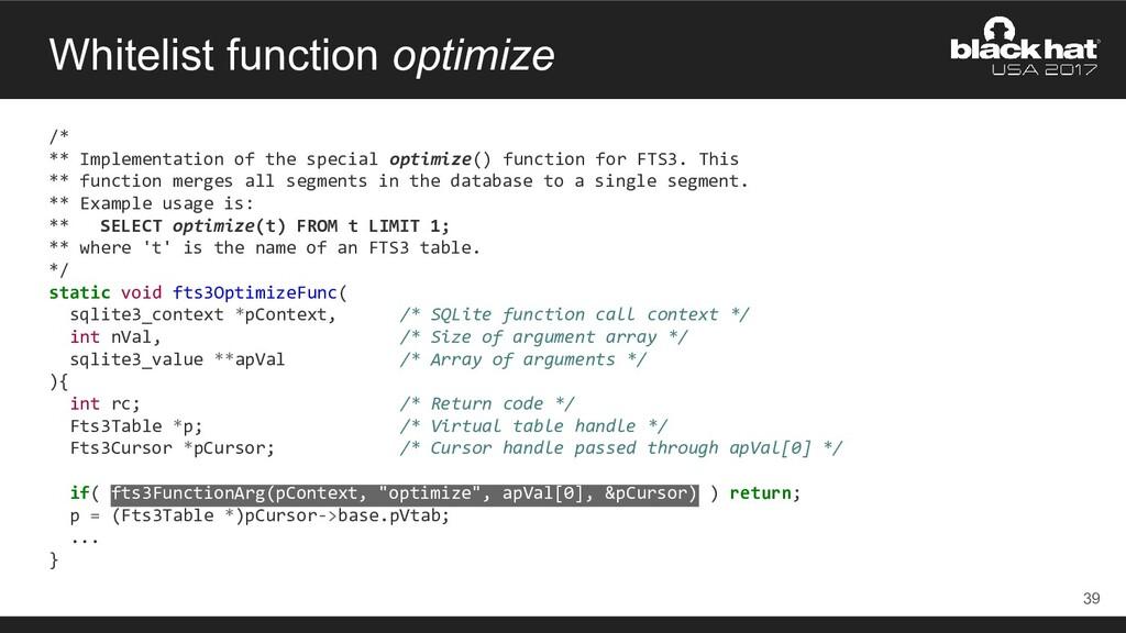 Whitelist function optimize /* ** Implementatio...