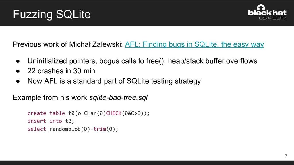 Fuzzing SQLite Previous work of Michał Zalewski...