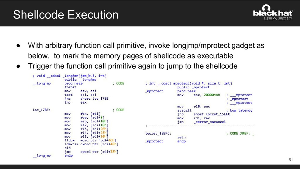 Shellcode Execution ● With arbitrary function c...